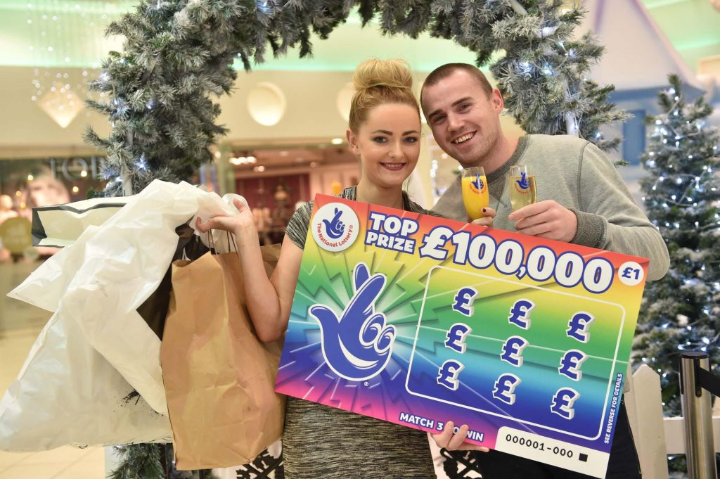 Lauren McLarnon (23) from Newtownabbey went on a celebratory shopping trip with her partner, Michael Mullen (25), after she won a staggering £100k on a National Lottery Scratchcard