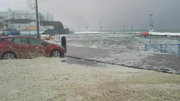 The heavy waves lash Portstewart as it is 'weather bombed'