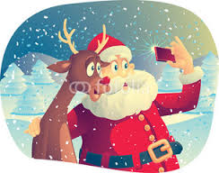 Smile for the camera Rudoph...Santa gets a selfie with the most famous reindeer