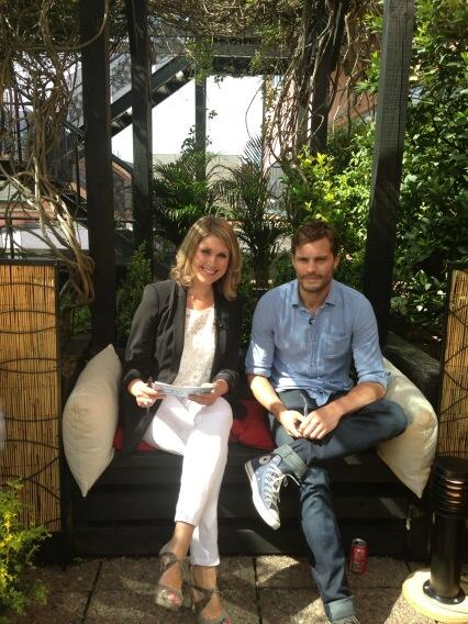 Popular host Sarah Travers with The Fall's Jamie Dornan