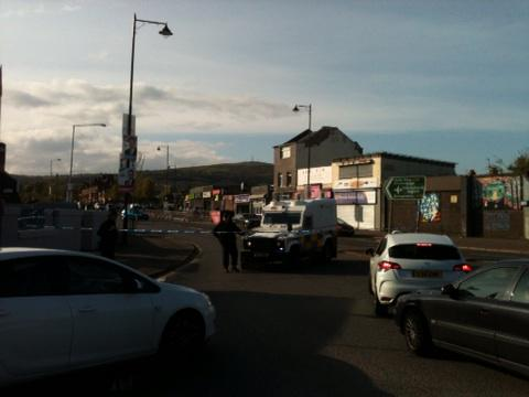 The scene this evening in the Ardoyne area of North Belfast
