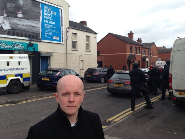 """Green party councillor Ross Brown at the scene of what he describes as a """"major drugs'' in east Belfast today"""