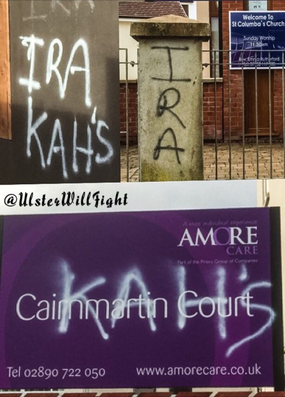 The sectarian 'IRA graffiti daubed on church and care home in west Belfast