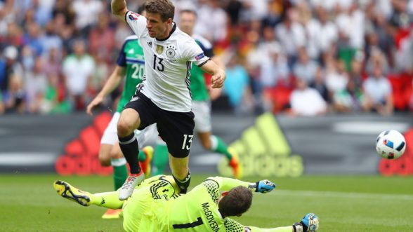 Fantastic \Michael McGovern yet again denies German striker Thomas Muller