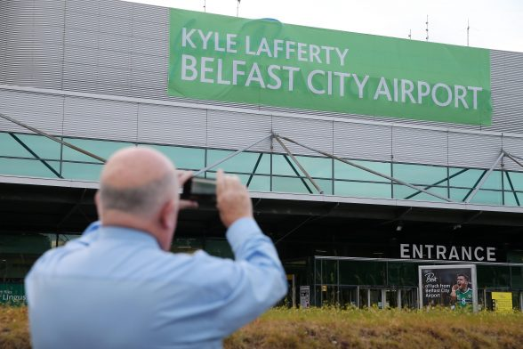 George Best Belfast City Airport displays its support for Northern Ireland at the Euros by changing its name for the day in honour of the team's star striker Kyle Lafferty. Photo by Kelvin Boyes / Press Eye