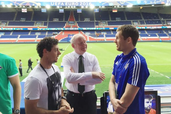 Deputy First Minister Martin McGuinness and Rory McIlroy pictured with goal keeper Michael McGovern after they watched Northern Ireland against Germany during Tuesday evenings final Euro 2016 group game at the Parc des Princes, Paris. Photo by William Cherry / Press Eye