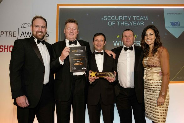 CASTLECOURT AND MERCURY SECURITY WIN TOP UK AWARD: NORTHERN Ireland shopping centre CastleCourt and local win top UK award. Pictured at the awards are (l-r) Award Sponsor Centre Security Innovations Ian Bowie, Castle Court Centre Manager Stewart McConnell, Castle Court Security Manager Paul Nicholl, Mercury Security Training Manager Garry Suddaby and Awards Presenter Anita Rani.