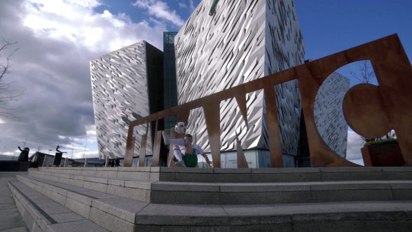 With kick-off to the European Championship nearly upon us, Tourism Ireland today launched its Euro 2016 campaign, to capitalise on the tourism potential of the tournament. PIC SHOWS: Freestyle footballer Jamie Knight in action outside Titanic Belfast. Pic – Tourism Ireland