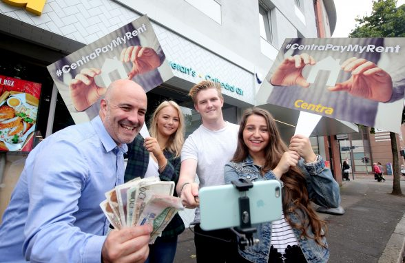 PAY MY RENT… With Freshers' Week just around the corner, Donagh McGoveran, owner of the newly opened Centra Cathedral Quarter, has teamed up with local students Claire McCoy, Mark McCoy and Charlotte Solomon to launch its #CentraPayMyRent competition.