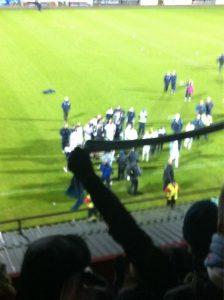 Ballymena fans cheer on Co Antrim shield winning team last season