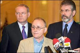 I confess..Denis Donaldson reveals he was a spy for Special Branch and MI5 flanked by Martin McGuinness and Gerry Adams