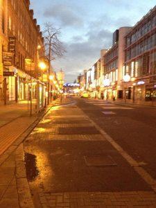 An empty Royal Avenue after Castle Court bomb alert