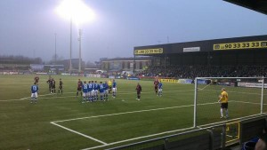 Free kick to Crusaders on the edge of Linfield box
