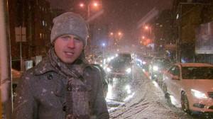 Brrrrra Best...BBC Newsline weather preseting live in the snow