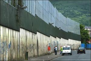Belfast peace wall in Cupar Street