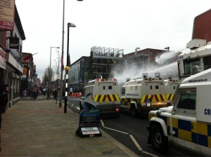 Water cannon used to disperse loyalist crowd in east Belfast in January 2013