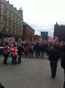 Man shouted abuse at police during Union flag protest in January