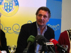 Liam Neeson at a press conference in Ballymena