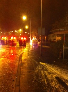 Police land rover hit by petrol bomb in Rathcoole