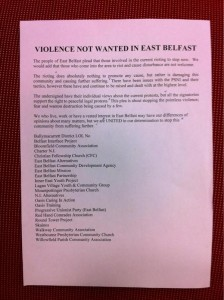 The peace leaflet being distributed in east Belfast