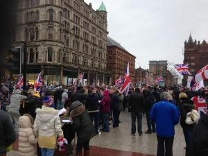 Union flag protetors at Belfast City Hall
