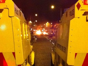 Burning barricade in east Belfast on Thursday evening