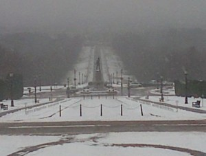 Cold outside Stormont grounds on Tuesday lunchtime