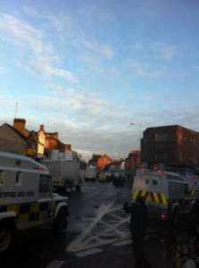 Four PSNI water cannons on Alberbridge Road