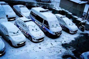EVENING ALL!...Snow joke being a police car.