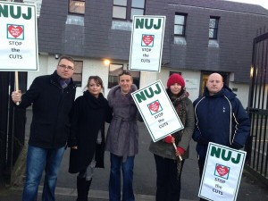 BBC NUJ Foyle Branch members on strike on Monday
