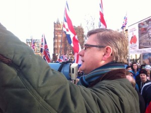 Jim Dowson addresses Union flag protestors at Belfast City Hall