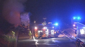 The scene of the lorry fire on the M1 on Wednesday evening