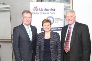 EU ommissioner for Humanitarian Aid, Kristalina Georgieva with UUP leader Mike Nesbitt and UUP MEP JIM NICHOLSON,