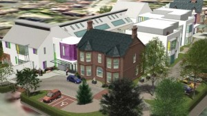 A model of how the new NI Hospice in Belfast would look like