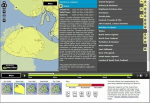 Yellow warning of snow for Monday