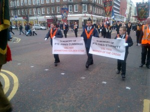 Ulster Defenders of the Realm 710 Lodge parading through Belfast on Saturday