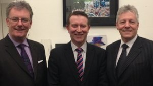 Mike Nesbitt with Peter Robinson and unionist unity candidate Nigel Lutton