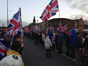 A 'white line' protest in east Belfast on Saturday afternoon