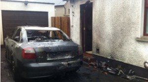 The burnt out shell of Willie Frazer's car