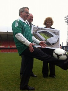 DoE Minister Alex Attwood and Sports Minister Cara Ni Chuilian with new look Windsor Park
