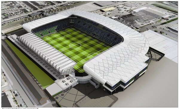 Cracks appaear in the new look 18,000 all seater Windsor Park stadium