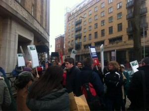Large turnout for BBC and BECTU strike in Belfast's Ormeau Avenue