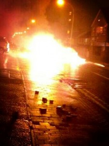 A car on fire in Newtownabbey on Friday night