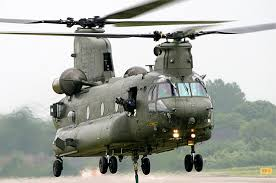 An RAF Chinook helicopter used to bring in feed for stranded sheep