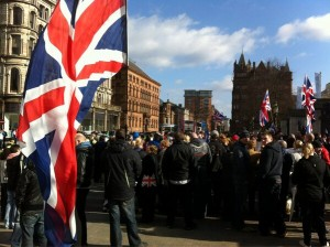 Union flag protest at Belfast City Hall on Friday, March 1