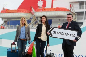 ALL ABOARD...Jenny Curran and Zara Shaw help Stena Line's Norris McClean launch Glasgow City Marketing Bureau's (GCMB) Spring breaks campaign.