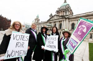 Councillor Deirdre Hargey (second left)  is joined by event organisers Anne McVicker and Helen Crickard, of WOMEN'STEC, Margaret Ward of Women's Resource and Development Agency and activist Lynda Walker.