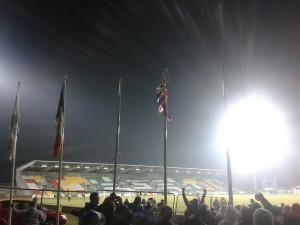 Linfield raise Union flag at Shamrock Rovers ground in Dublin