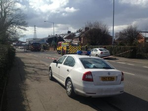 Fire crews at the scene of double house fire in Upper Lisbur Road, south Belfast