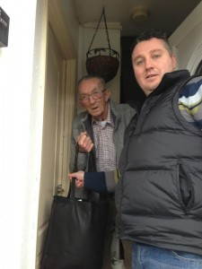 PUP rep Phil Hamilton delivers warm food and hot drinks to a Rathcoole pensioner on Thursday